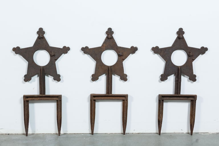 Late 19th Century Collection of Three Cast Iron Star Victorian Daughters of the Revolution Markers For Sale