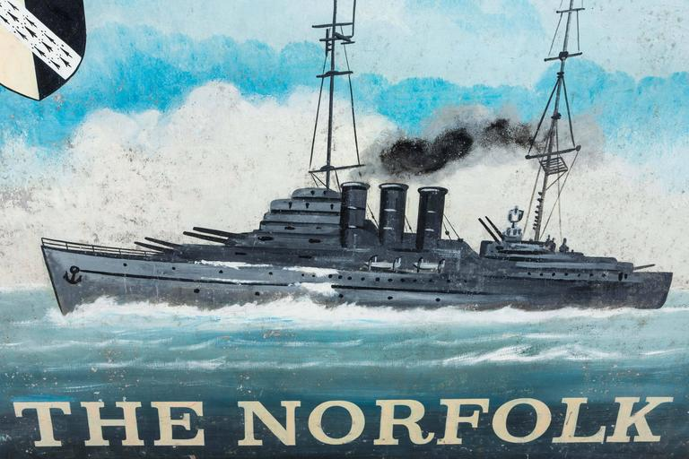 """Hand-Painted Early 20th Century Double-Sided Iron Nautical Trade Sign """"The Norfolk"""" For Sale"""