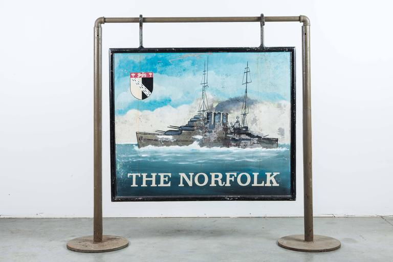 """Early 20th Century Double-Sided Iron Nautical Trade Sign """"The Norfolk"""" In Good Condition For Sale In Santa Monica, CA"""