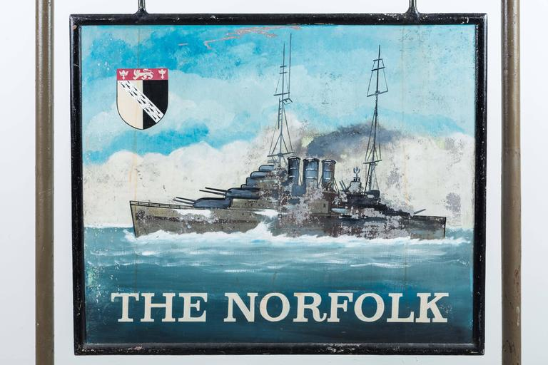 """Early 20th Century Double-Sided Iron Nautical Trade Sign """"The Norfolk"""" For Sale 1"""
