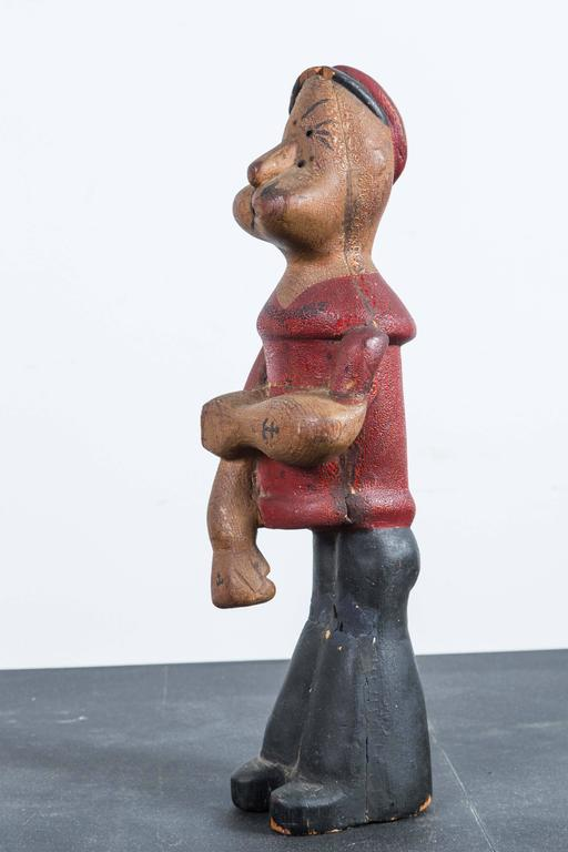Folk Art Vintage Hand-Carved Wood Popeye Figure with Original Paint Surface For Sale