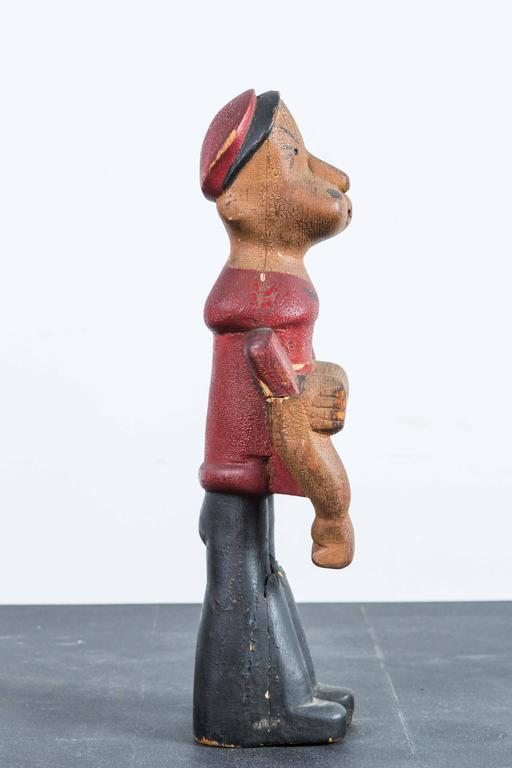 Mid-20th Century Vintage Hand-Carved Wood Popeye Figure with Original Paint Surface For Sale