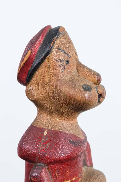 Vintage Hand-Carved Wood Popeye Figure with Original Paint Surface For Sale 1