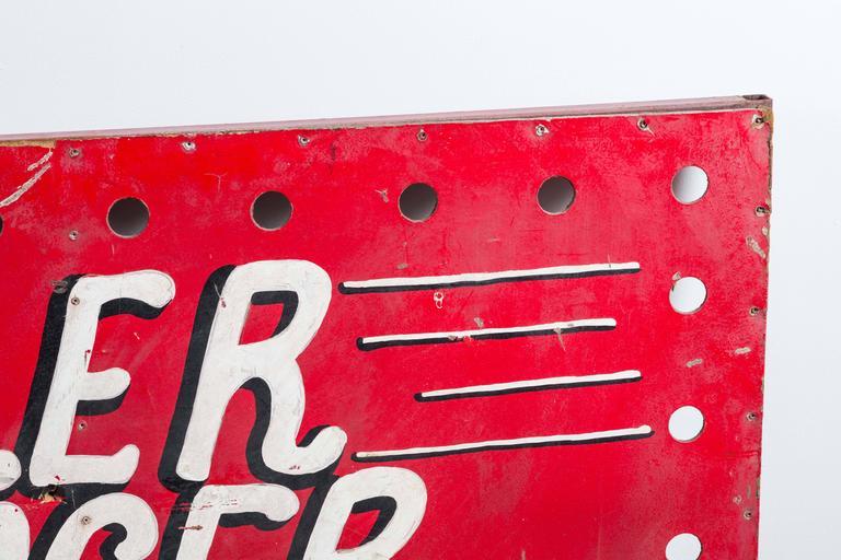 "Folk Art 1940s American Carnival Midway ""Roller Racer"" Sign For Sale"