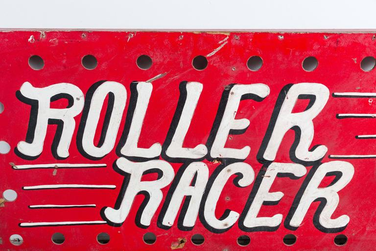 """Hand-Painted 1940s American Carnival Midway """"Roller Racer"""" Sign For Sale"""