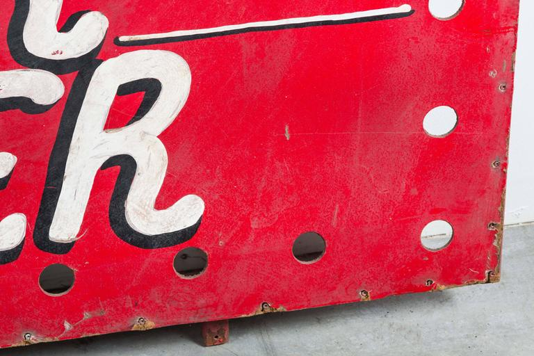"""Iron 1940s American Carnival Midway """"Roller Racer"""" Sign For Sale"""
