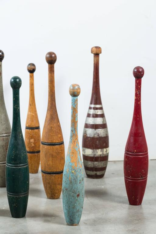 Folk Art Collection of Indian Clubs with Original Paint Surface For Sale