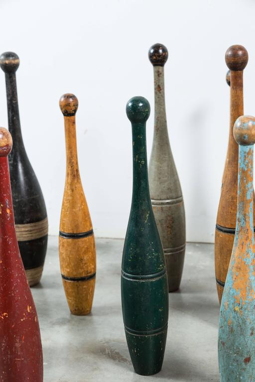 Hand-Painted Collection of Indian Clubs with Original Paint Surface For Sale