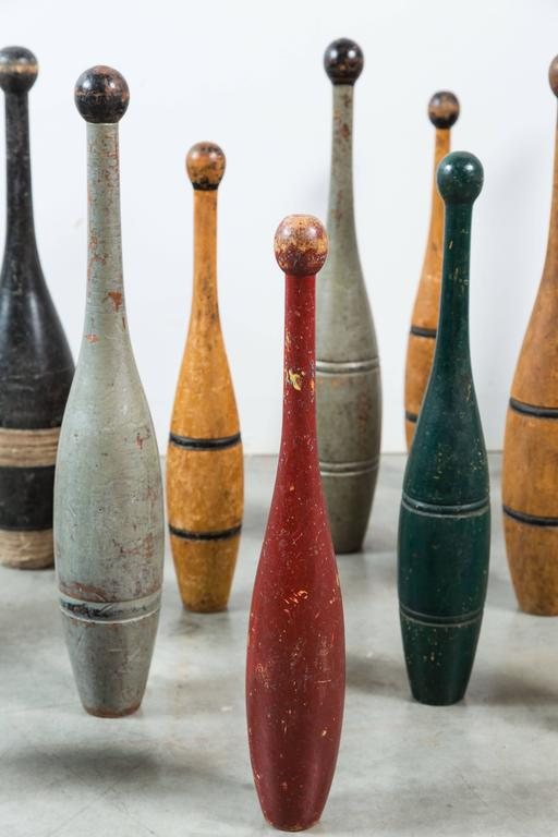 Collection of Indian Clubs with Original Paint Surface In Good Condition For Sale In Santa Monica, CA