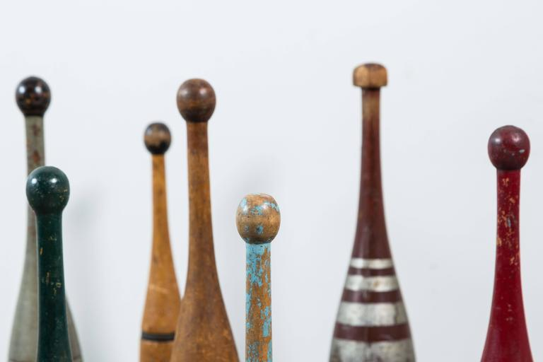 Late 19th Century Collection of Indian Clubs with Original Paint Surface For Sale