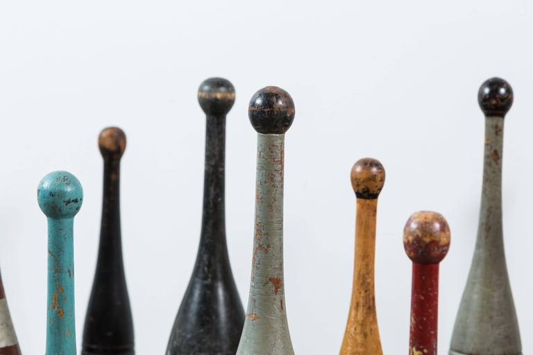 Wood Collection of Indian Clubs with Original Paint Surface For Sale
