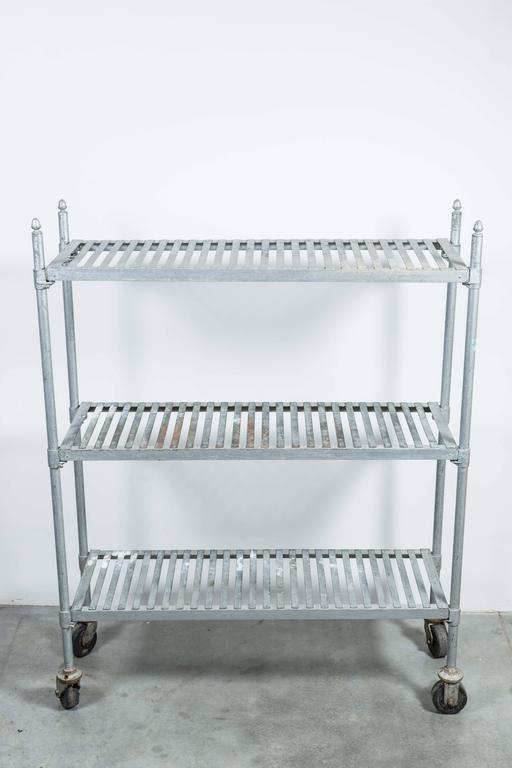 Vintage Zinc Industrial Bakery Cart 2