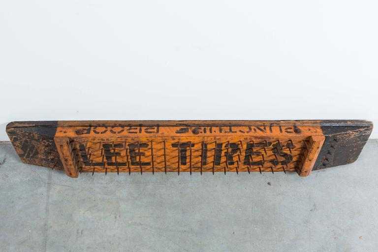 Early 20th Century Lee Tires Puncture Proof Trade Sign In Good Condition For Sale In Santa Monica, CA