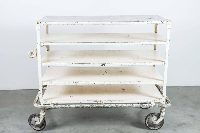 Early 20th Century White Iron Industrial Cart 3