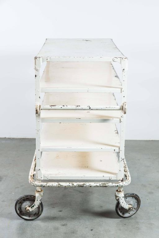 Early 20th Century White Iron Industrial Cart 7