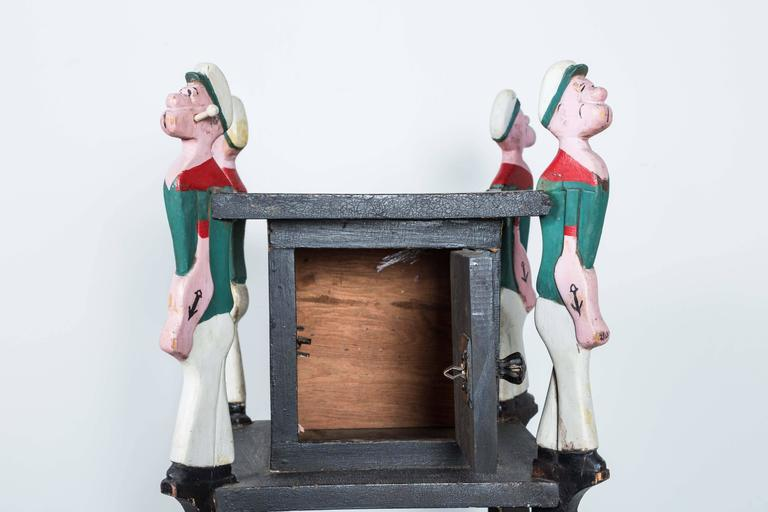 Hand-Painted Popeye Hand-Carved Folk Art Side Table, circa 1940s For Sale