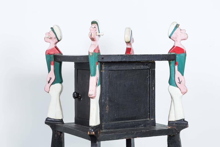 Popeye Hand-Carved Folk Art Side Table, circa 1940s In Good Condition For Sale In Santa Monica, CA