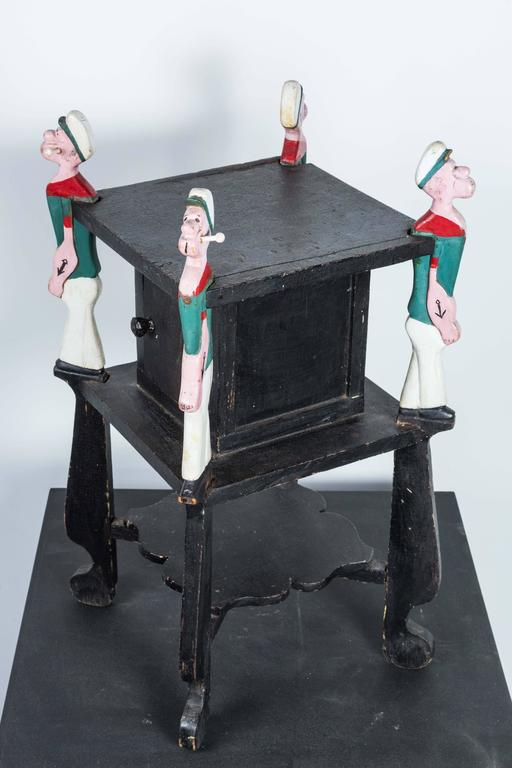 Popeye Hand-Carved Folk Art Side Table, circa 1940s For Sale 2