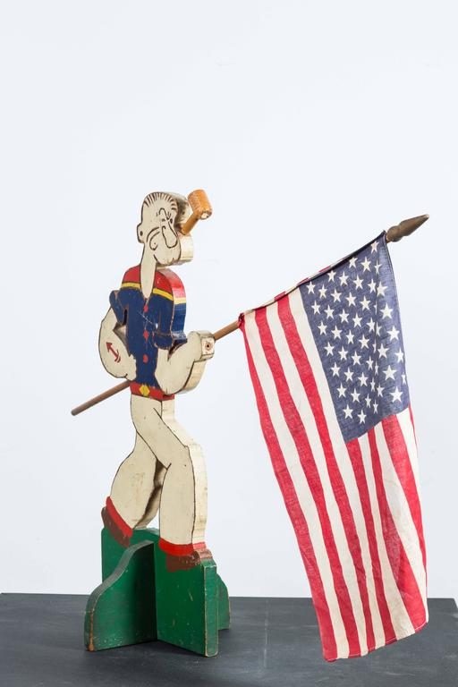 Folk Art Popeye The Sailor Flag Display, circa 1940s In Good Condition For Sale In Santa Monica, CA
