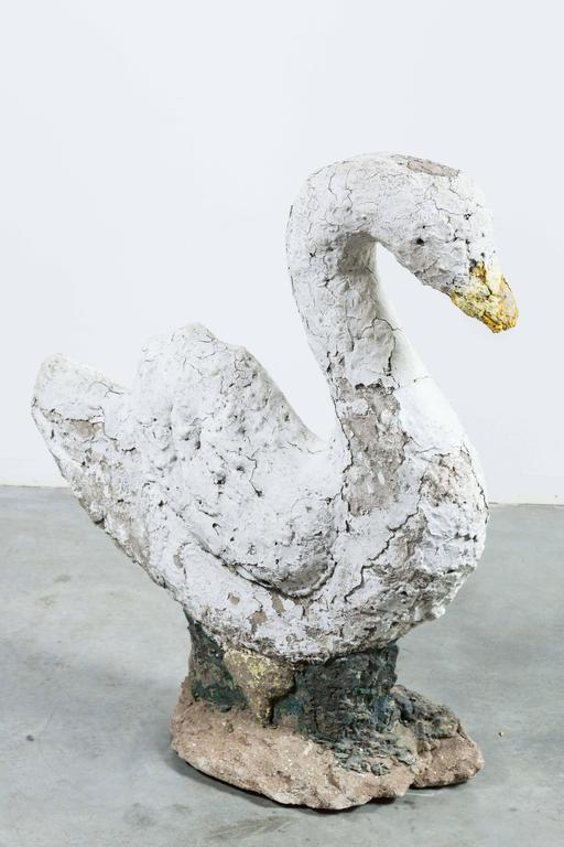 20th Century Swan Garden Statue Found in Upstate New York For Sale