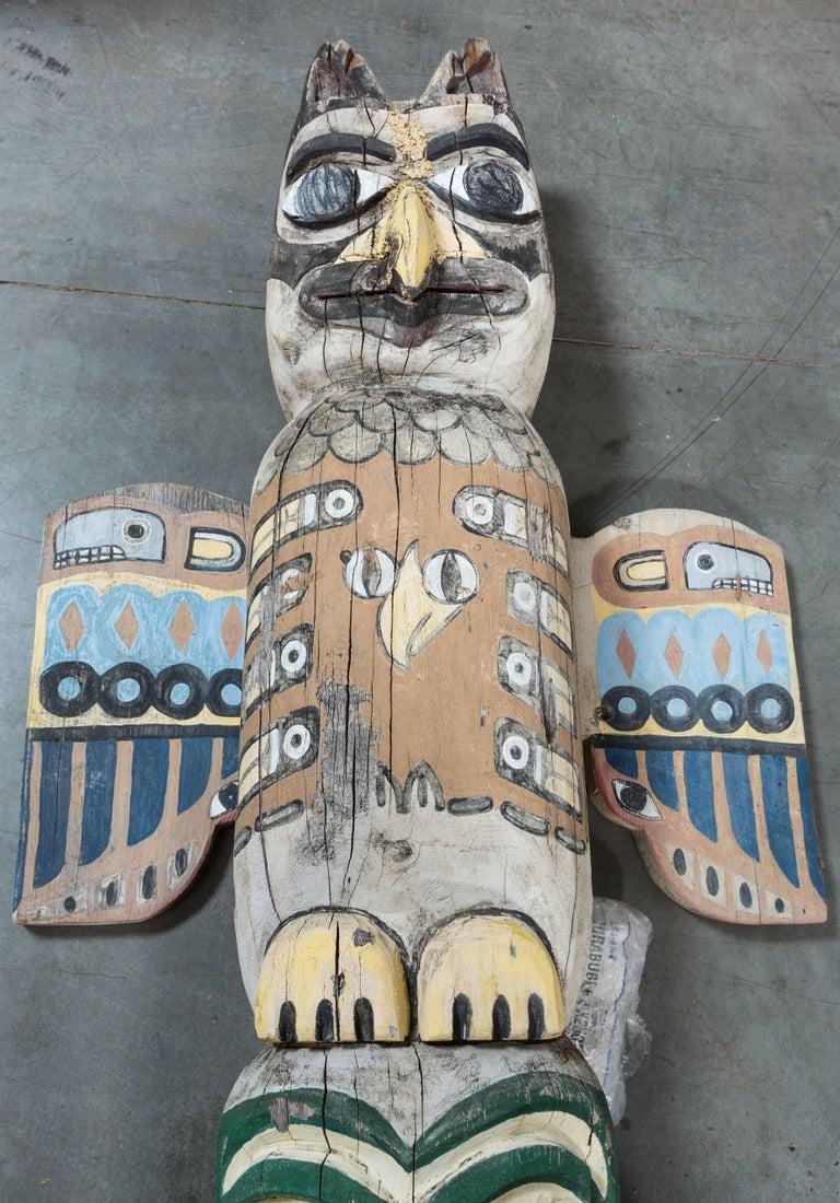 Folk Art Native American Animal Mythical Creature Redwood Totem Pole For Sale