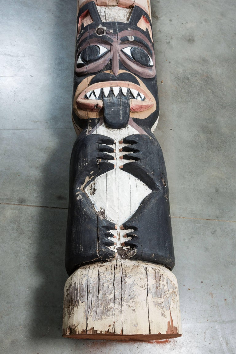 20th Century Native American Animal Mythical Creature Redwood Totem Pole For Sale