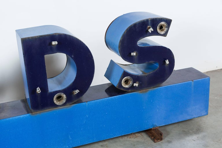 Industrial Iron Enamel General Store Neon Trade Sign For Sale