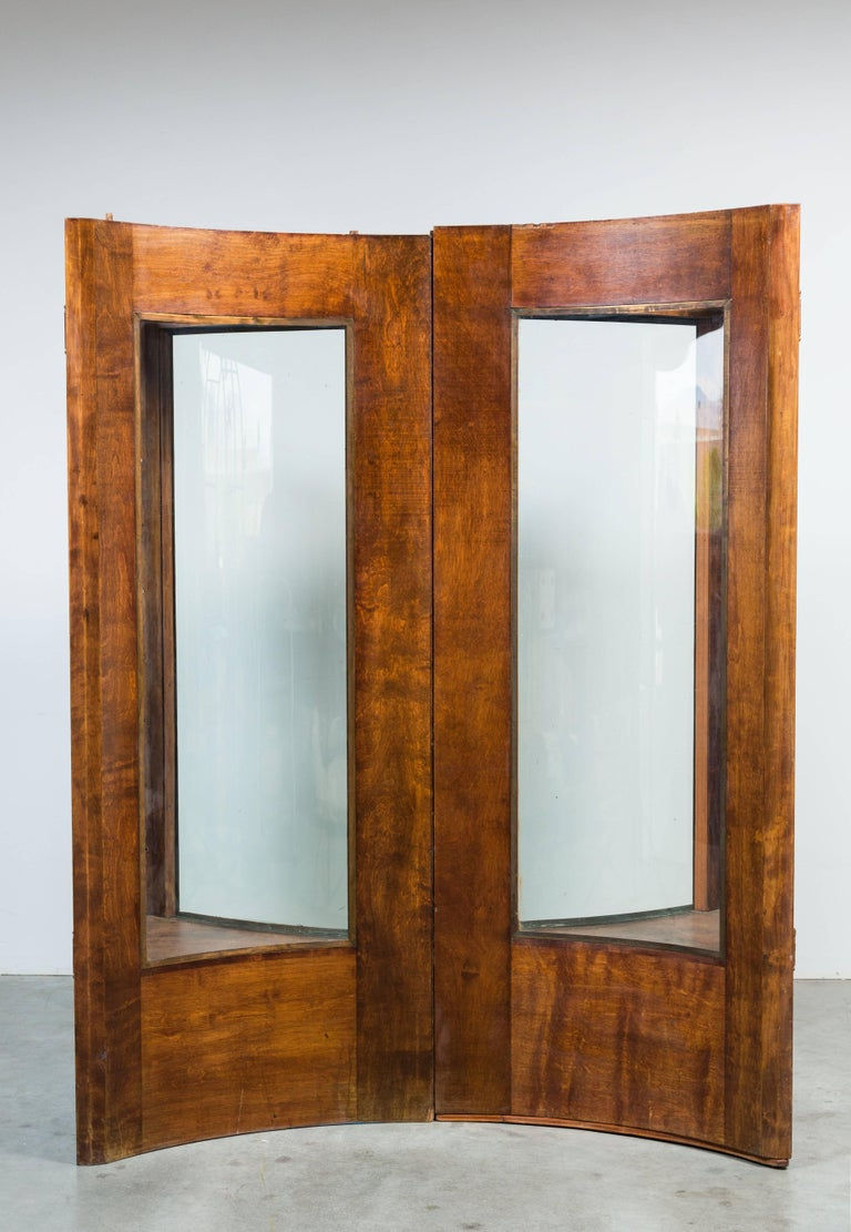 Mission Early 20th Century Fort Worth Hotel Oak Display Case Pair For Sale