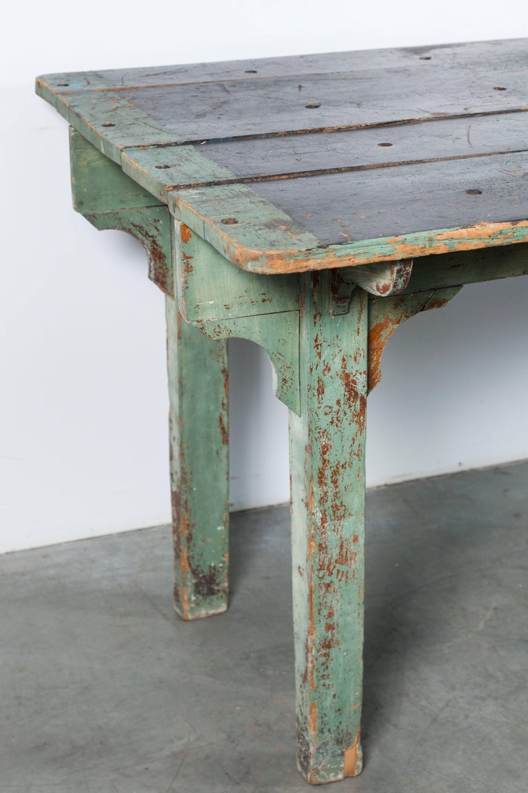 Vintage American General Store Counter Table with Drawer Original Paint Surface For Sale 1