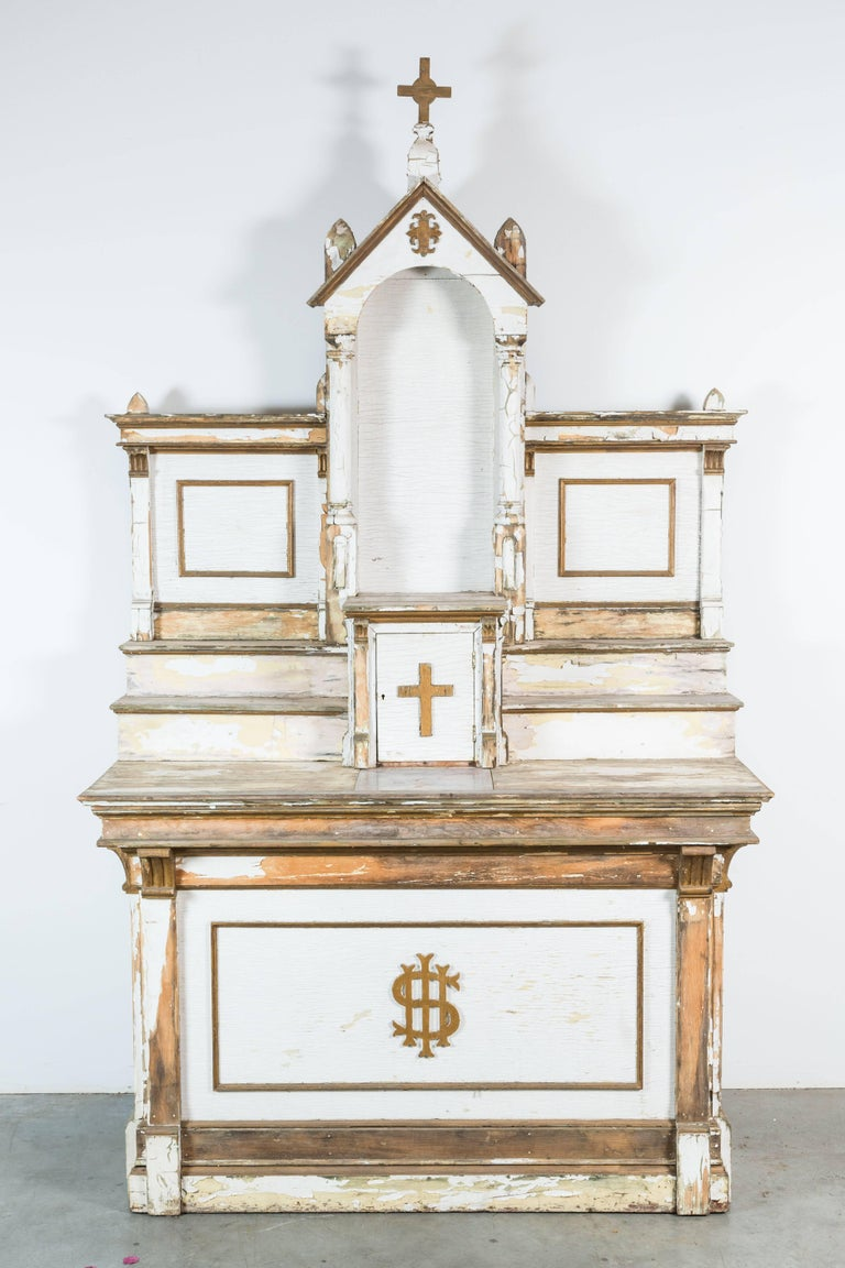 Early 20th Century Wood Church Folk Art Altar For Sale 6