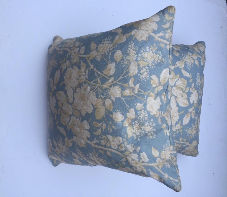 Pair of medium size down filled feather pillows by Ralph Lauren.