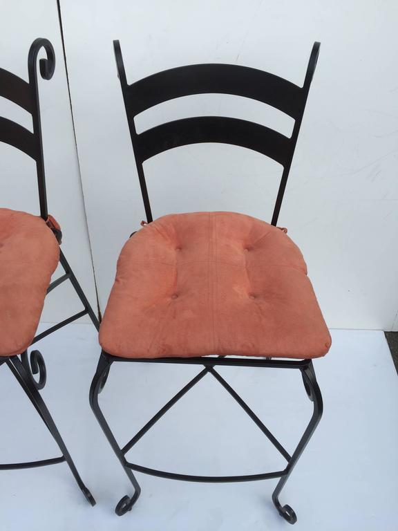 Pair Of Tall Wrought Iron Bar Stools For Sale At 1stdibs