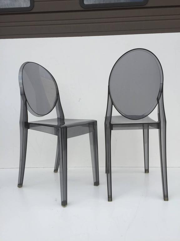 Contemporary Five Signed Lucite Ghost Chairs For Sale