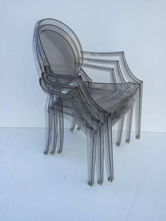 American Five Signed Lucite Ghost Chairs For Sale