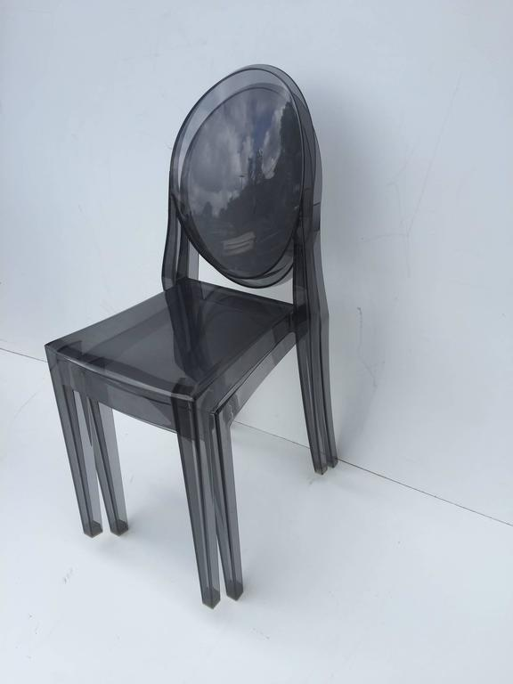 Five Signed Lucite Ghost Chairs For Sale 2