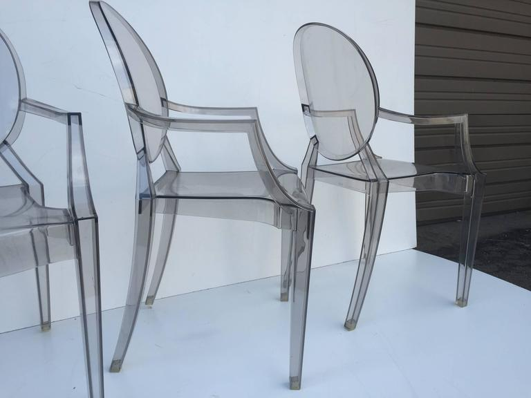 Mid-Century Modern Five Signed Lucite Ghost Chairs For Sale