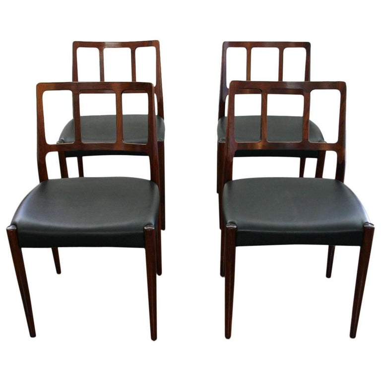 Set of Four Danish 1960s Rosewood Designed by Johannes Andersen For Sale