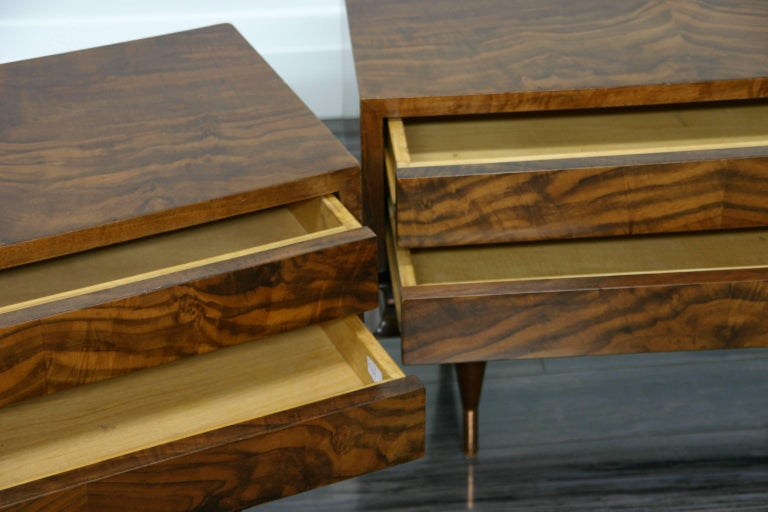 Hand-Crafted Pair of Gio Ponti Style Low Chest End Tables For Sale