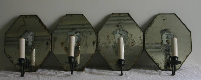 Set of Four Art Deco Mirrored Sconces For Sale 3