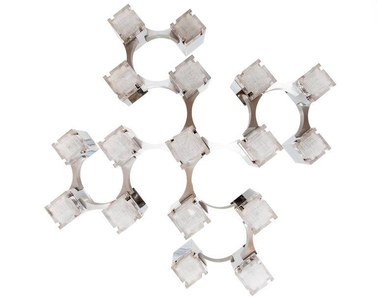 Italian Vintage Cubist Pendant Light by Gaetano Sciolari For Sale