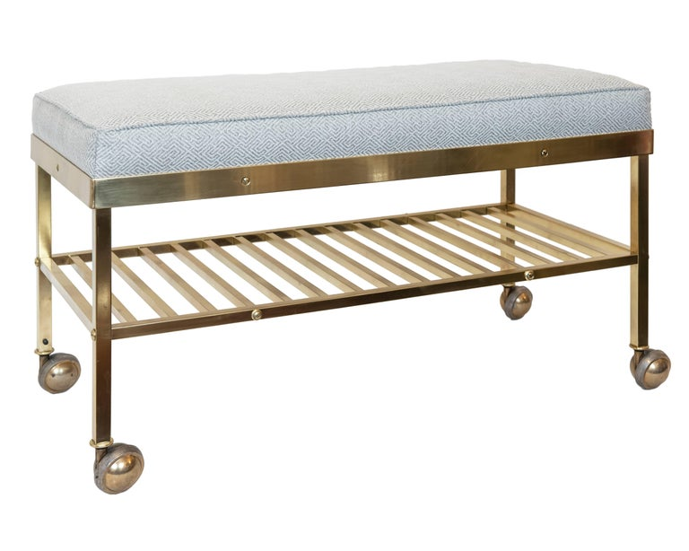 Polished Vintage American Brass Bench On Castors For Sale