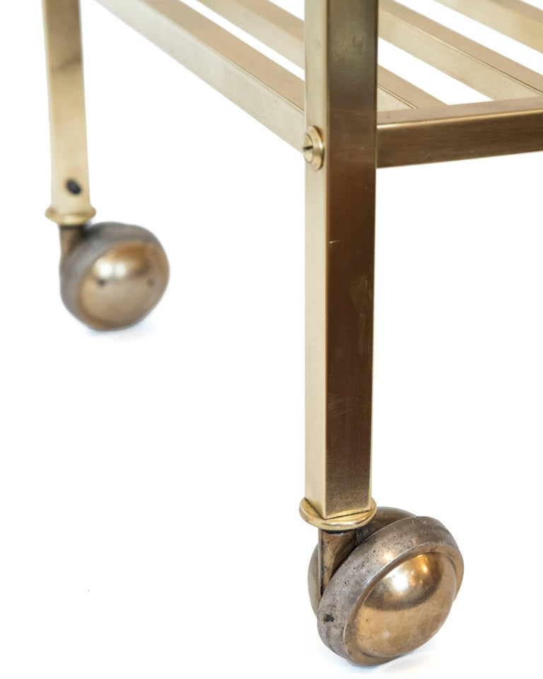Vintage American Brass Bench On Castors In Excellent Condition For Sale In Toronto, ON