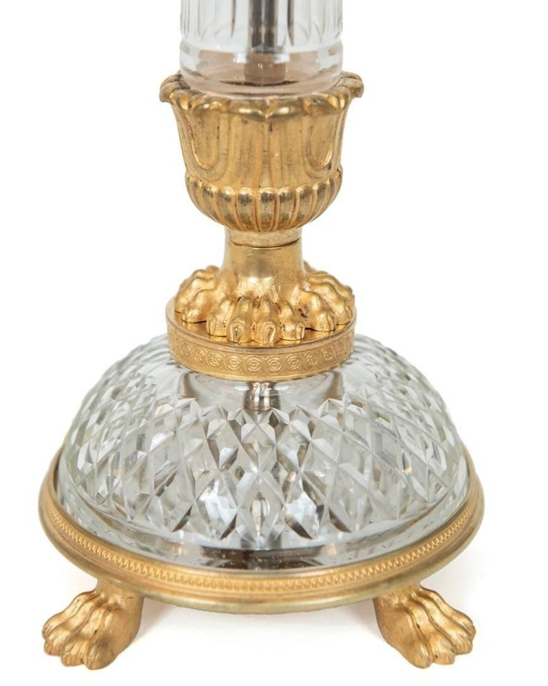 Hand-Crafted Pair of Gilt Metal and Cut Crystal Empire Style Table Lamps, Austrian circa 1970 For Sale