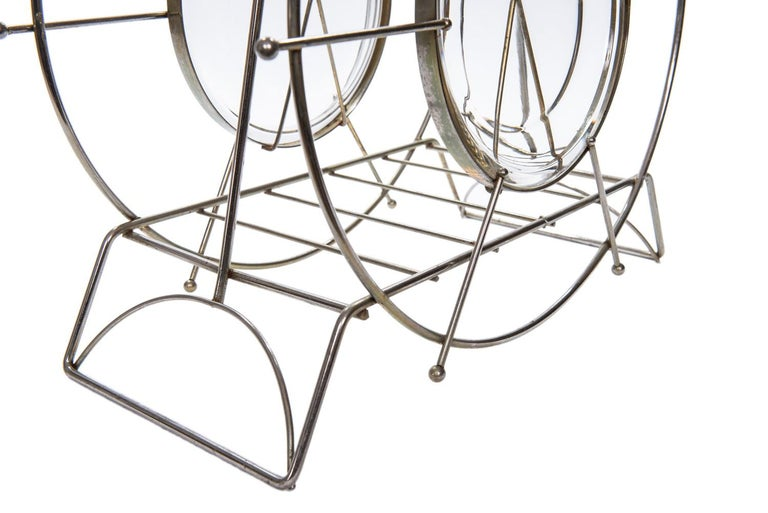 Canadian Vintage Metal and Glass Magazine Rack, circa 1960s For Sale