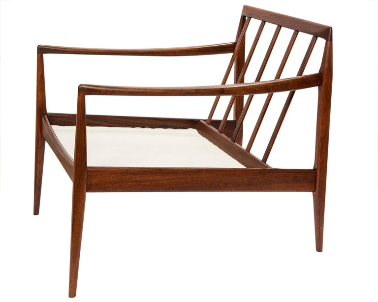 Danish Pair of Teak Upholstered Armchairs Attributed to Ib Kofod-Larsen, circa 1960 For Sale