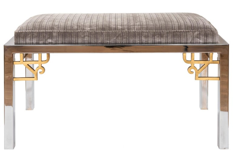 Plated Hollywood Regency Style Chrome Steel Bench, American, circa 1969 For Sale