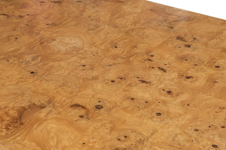 American Large Burl Wood Parsons Dining Table, Milo Baughman Attributed for Thayer Coggin For Sale