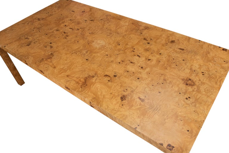 Veneer Large Burl Wood Parsons Dining Table, Milo Baughman Attributed for Thayer Coggin For Sale