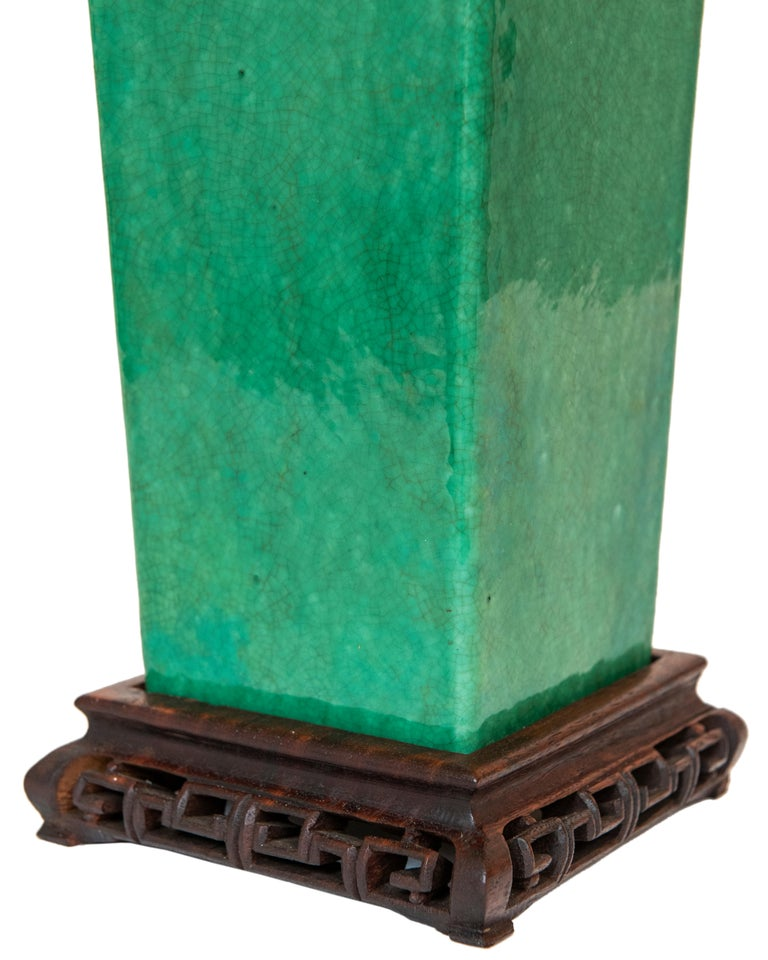 Glazed Late 19th-Early 20th Century Apple Green Chinese Urn Shaped Table Lamp For Sale