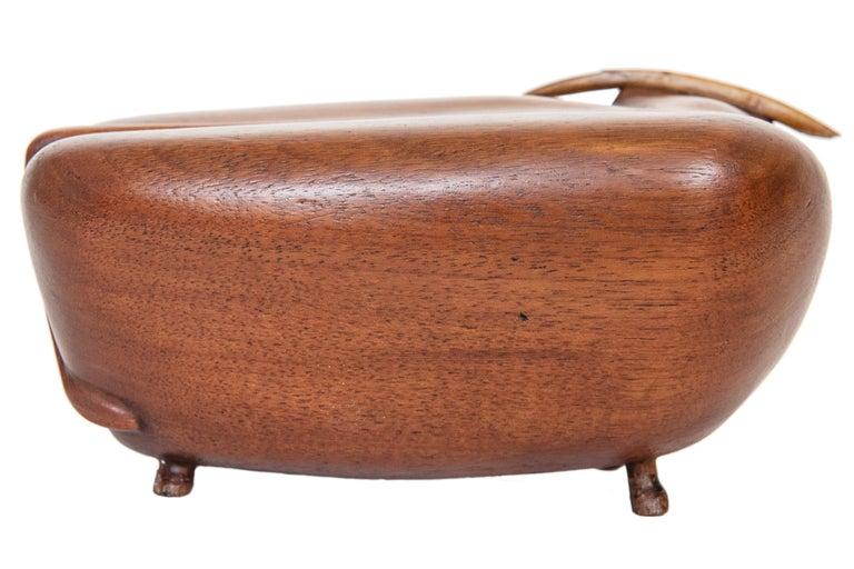 American Vintage MCM Wood Toro/Bull Signed JW For Sale